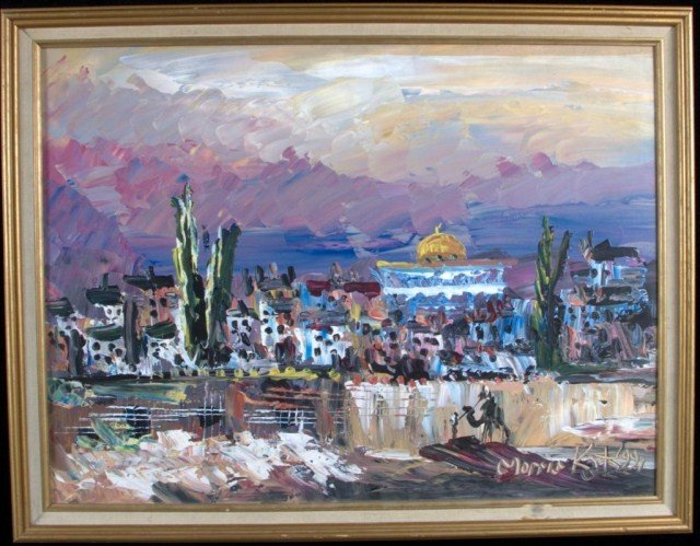16: Morris Katz Western Landscape Oil on masonite board