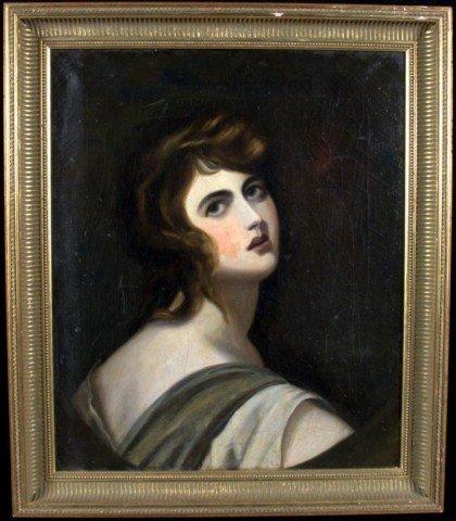 17: Continental School Portrait of Woman Oil on canvas,