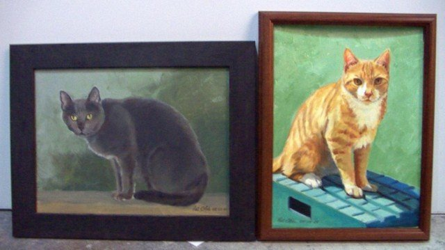 18: Pat Olds Two Cat Paintings One, an orange tabby, oi