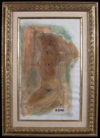 19: A . Miro Kneeling Nude Watercolor, signed l.r. 23 x