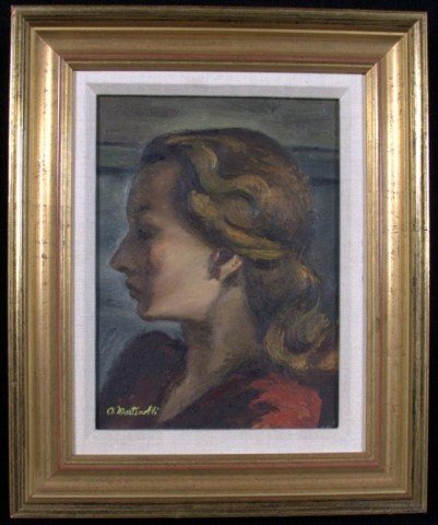 22: A.  Martinelli Woman in Red Oil on canvas, signed l
