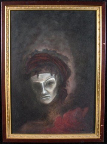 24: Man in White Mask Oil on canvasboard, unsigned, 22