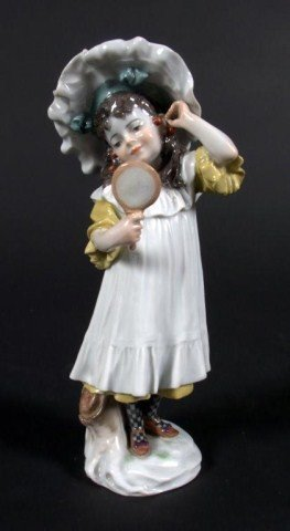 267: Meissen Porcelain Figure Girl with Mirror Modelled
