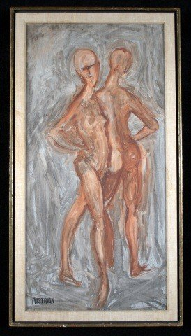 1: Mid 20th C. Polychromed Study of Nudes