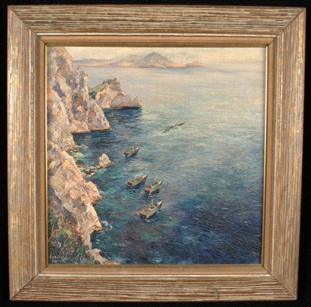 5: Oil on Board Painting of a WWII Boat Squadron