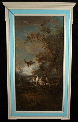 6: 19 C. Oil on Canvas of Flora and Fauna