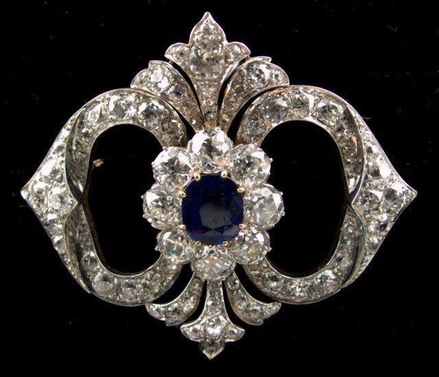 238: Diamond and Sapphire Brooch   *