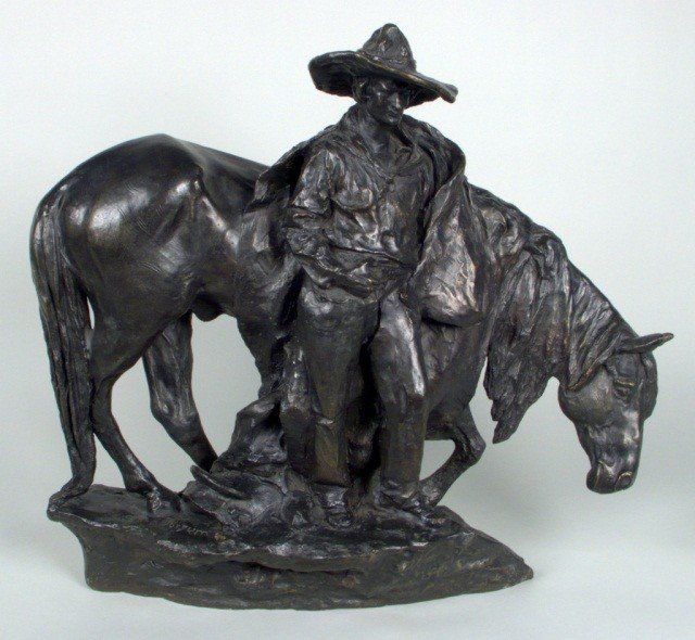455: Solon H. Borglum (Am. 1868-1922)  Evening