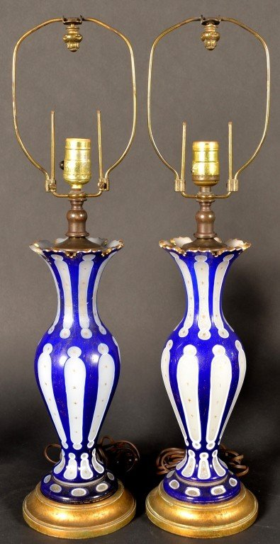420: Pair of Blue Overlay Glass Vase Lamps