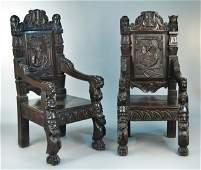 492 Pair of Walnut Armchairs