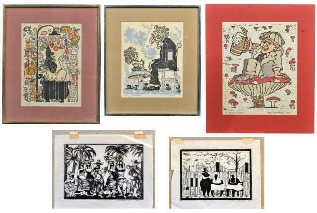 10: Hans Dannheisser (Am 20th c.)  Five Prints