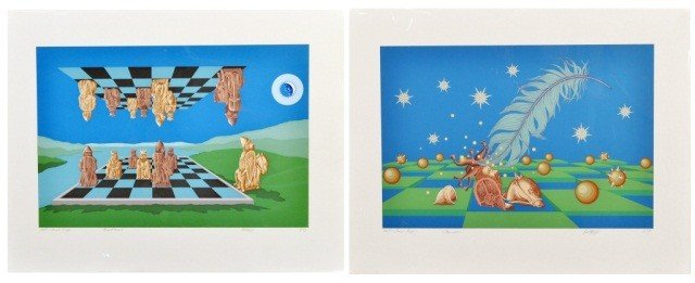 14: Bill Wolf  (Am. 20th c)  Two Prints