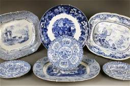 525 Group of Blue and White Porcelain Table Articles