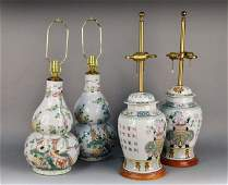 560 Two Pairs of Asian Porcelain Lamps