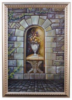 1: Richard Moor (20th c.)  Vase of Flowers in a Niche