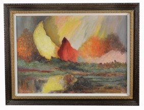 8: Paul Janis (20th c.)  Abstract Landscape