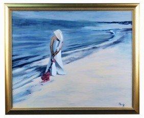 22: Mike Zazzara (20th c.)  Coastal Scene with Woman