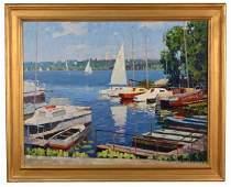 23 American School  Sailboats in Harbor
