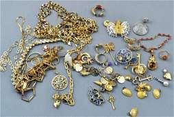 232 Miscellaneous Group of Gold Tone Jewelry
