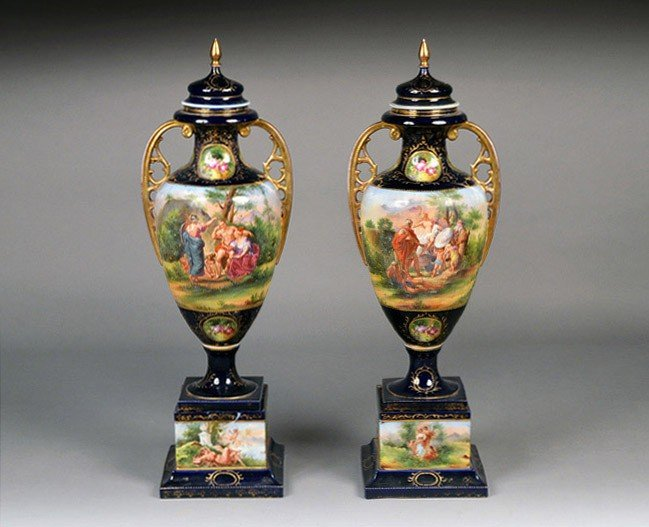 407: Pair of Vienna Porcelain Covered Urns