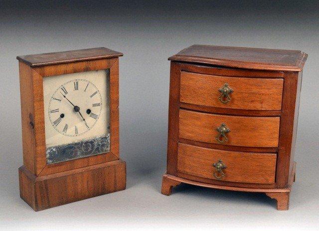 517: Table Clock and Mahogany Miniature Chest