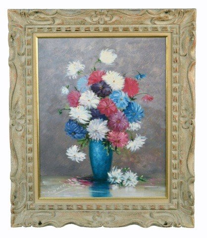 8: Linnell (20th C.)  Flowers in a Blue Vase