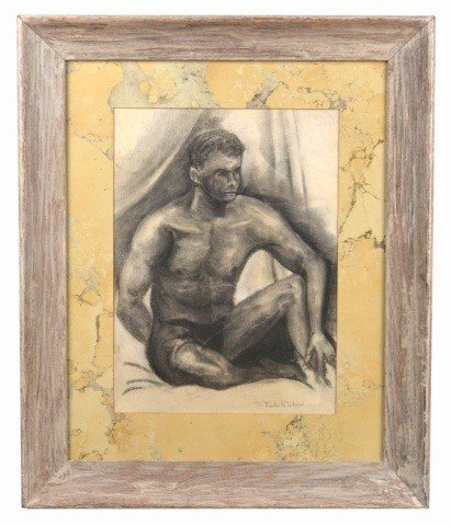 18: P. Tchelitchew (Russian,1898-1957) Seated Male Nude