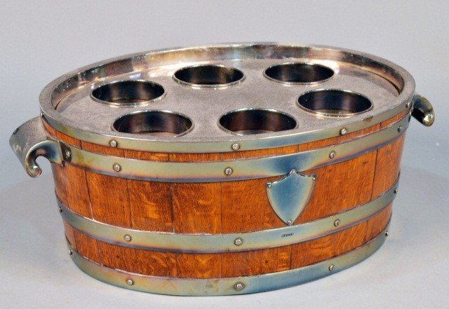 115: Victorian Style Wood and Silver Plated Wine Cooler