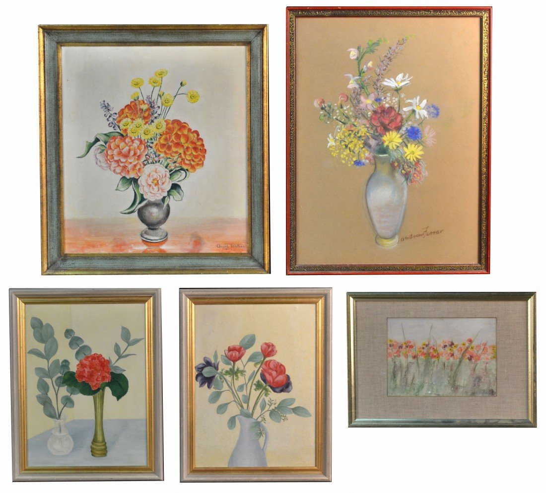 Group of Five Floral Works