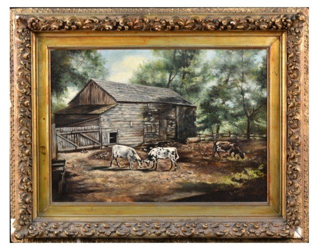 V.A. Waldron    Cabin With Cows