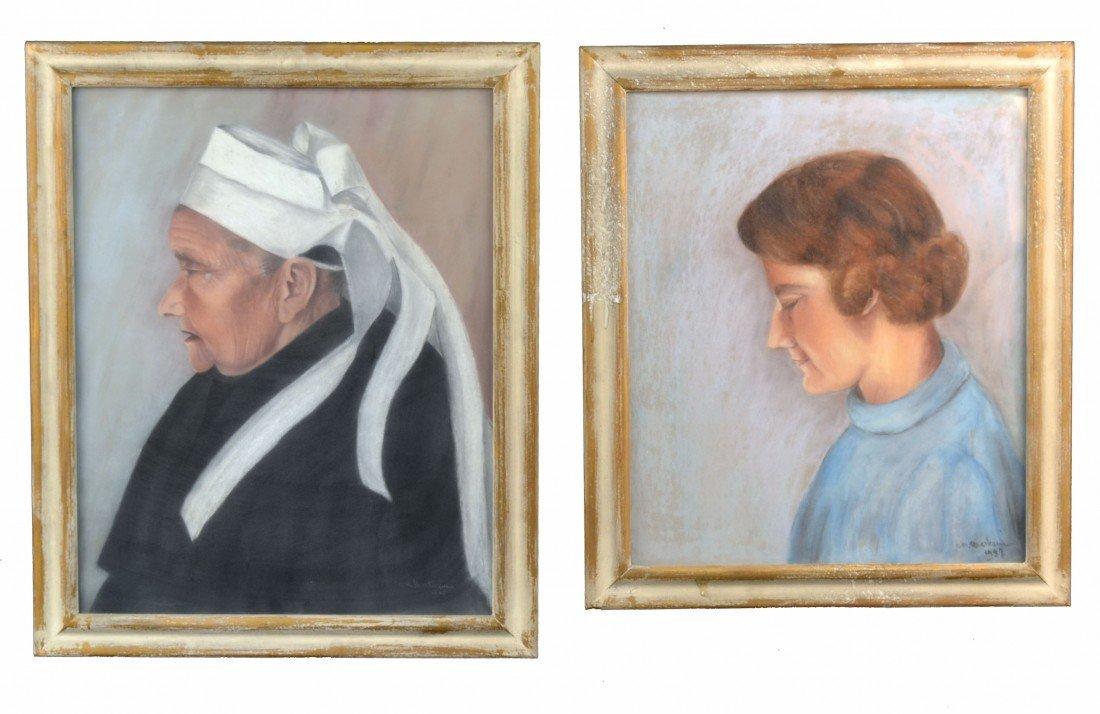 A.M. Barbam (Active Circa 1930)  Two Portraits