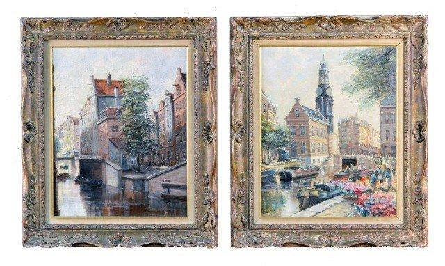 H. ten Hoven (Dut. b.1901) Two Dutch Canal Scenes
