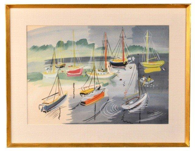 Charles Cobelle (Fr,1902-1998) Sailboats in Harbor