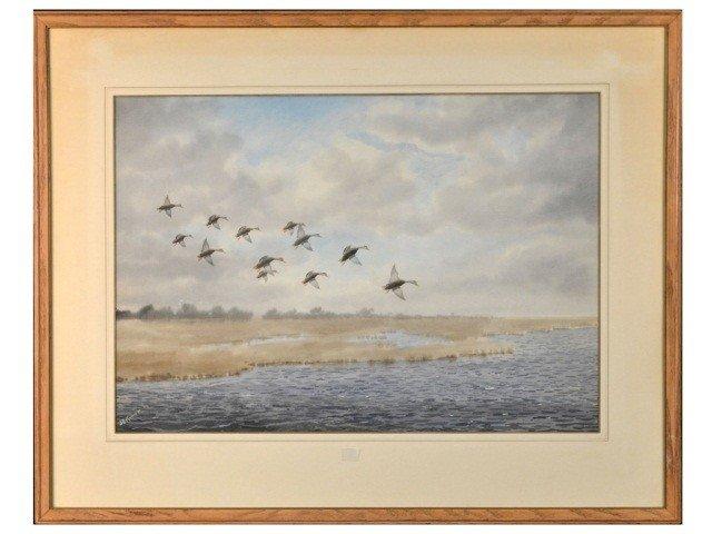 Joseph Day Knap (Am, 1875-1962)  Ducks in Flight