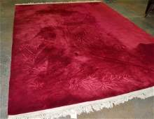 Chinese Maroon Carved Carpet
