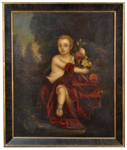 7: European School  Putti with Flowers