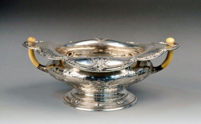 160: Gorham Sterling Silver and Ivory Center Bowl