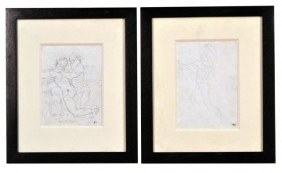 7: Pair of French Pencil Drawings of Men