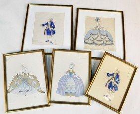 F�lix De Gray (Fr,1889-1925) Five Fashion Drawings