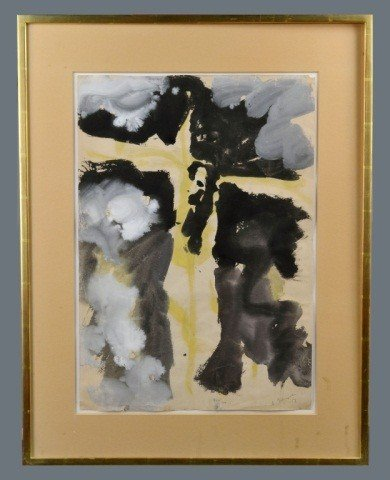 63: Ink and Water Color Abtract, 20th C.