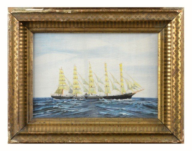 66: Gouache of a Five Masted Schooner