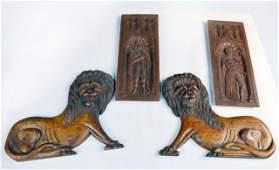 466 Pair of Torah Lions  Pair of Gothic Oak Panels