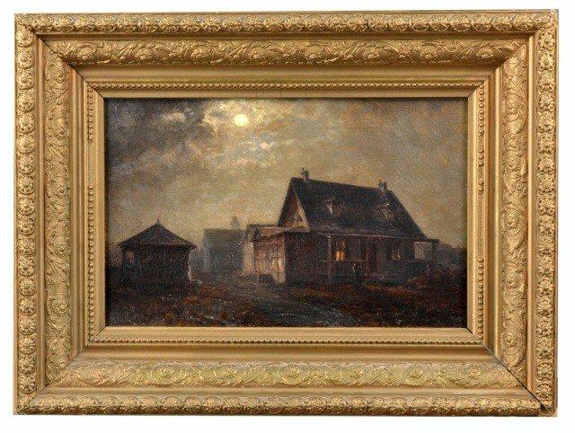 3: American School (19th c.)   Farmhouse at Night