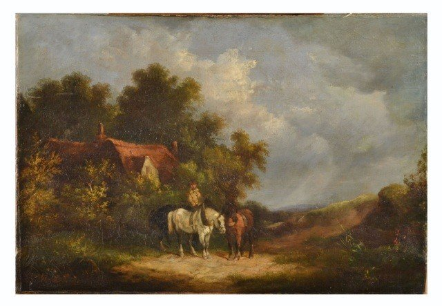 6: Continental School (19th c.)  Landscape with Horses