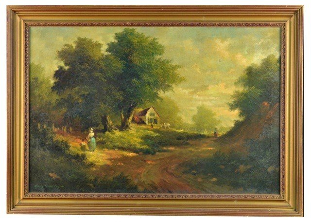 9: Henry T. Harvey (Am,19th c.) Landscape with Figure