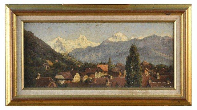 10: Continental School (19th c.)  Alpine Village Scene