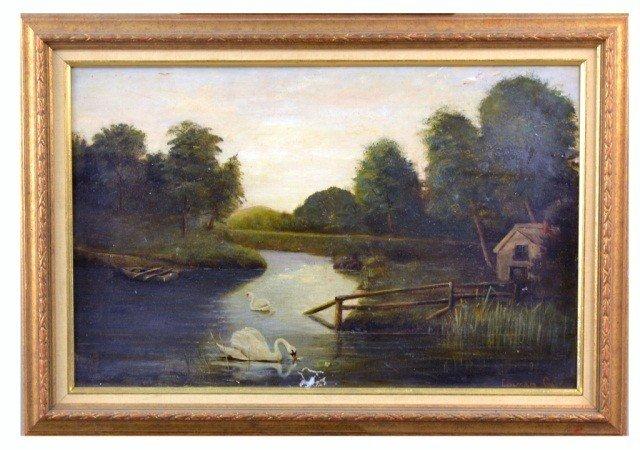 23: Edward Gay (Ire./Am., 1837-1928), Swans on Stream