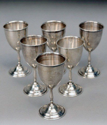 254: Six Mexican Silver Cordial Goblets