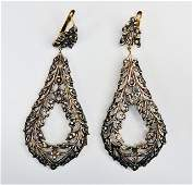 295: Russian Gold, Silver and Diamond Earrings