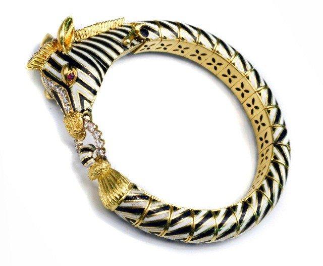 318: David Webb Gold Enamel & Diamond Zebra Bangle  *